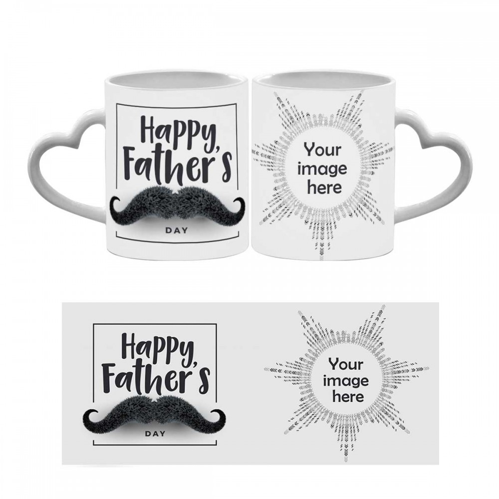 Personalised Happy Fatherday Quoted heart ahandle Mug