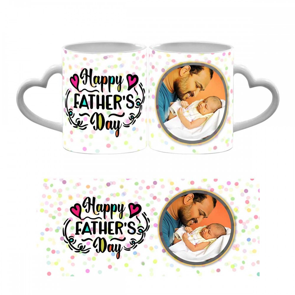 Personalised Happy Fathers Day Heart Handle Mug 2