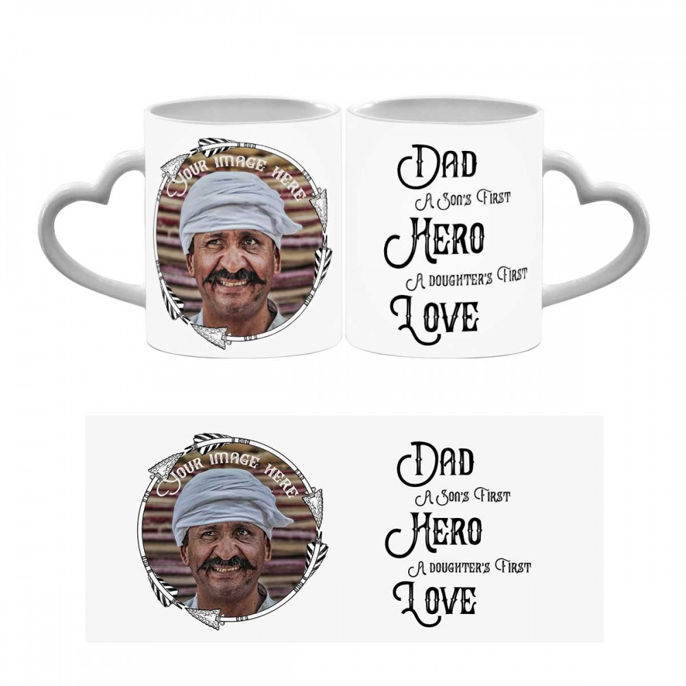 Dad's love quoted Heart Handle Photo Mug