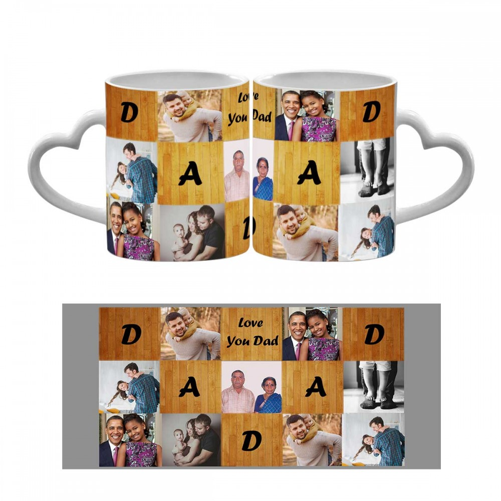 Personalised Love You Dad Quoted Heart Handle Mug