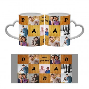 Love You Dad Heart Handle Mug