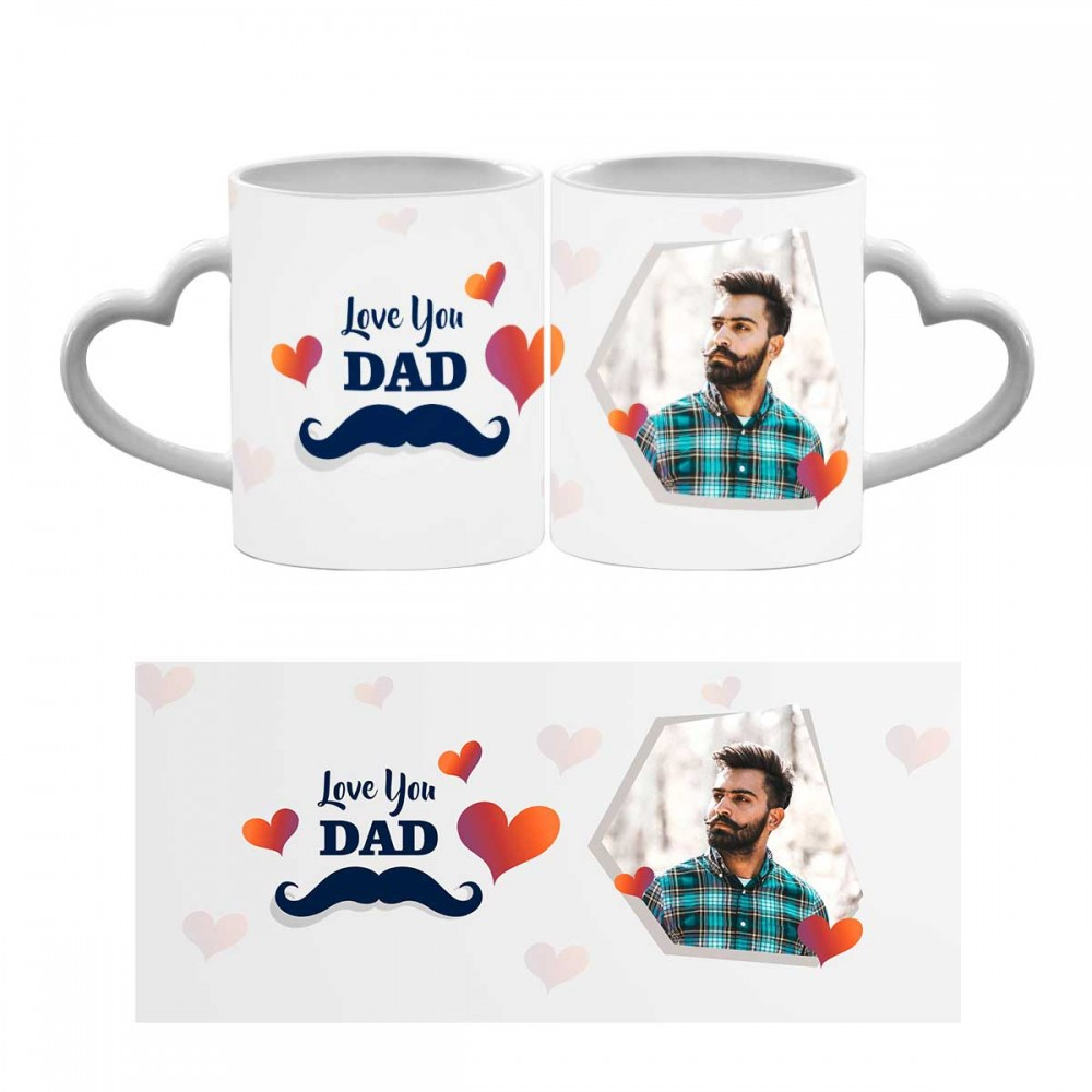 Personalised Love You Dad Heart Handle Mug 2