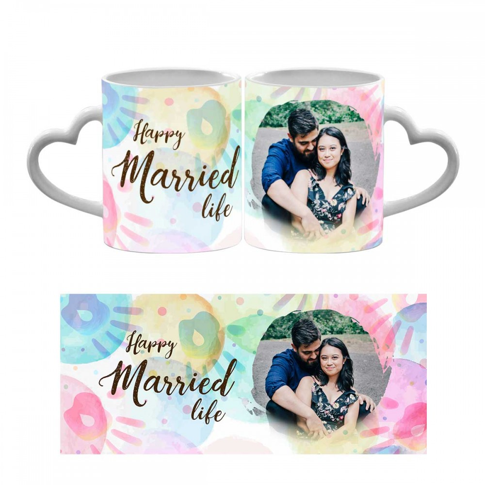 Happy Married Life Heart Handle Photo Mug