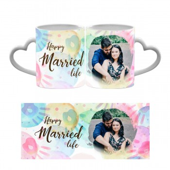 Personalised Happy Married Life Quoted Heart Handle Photo Mug