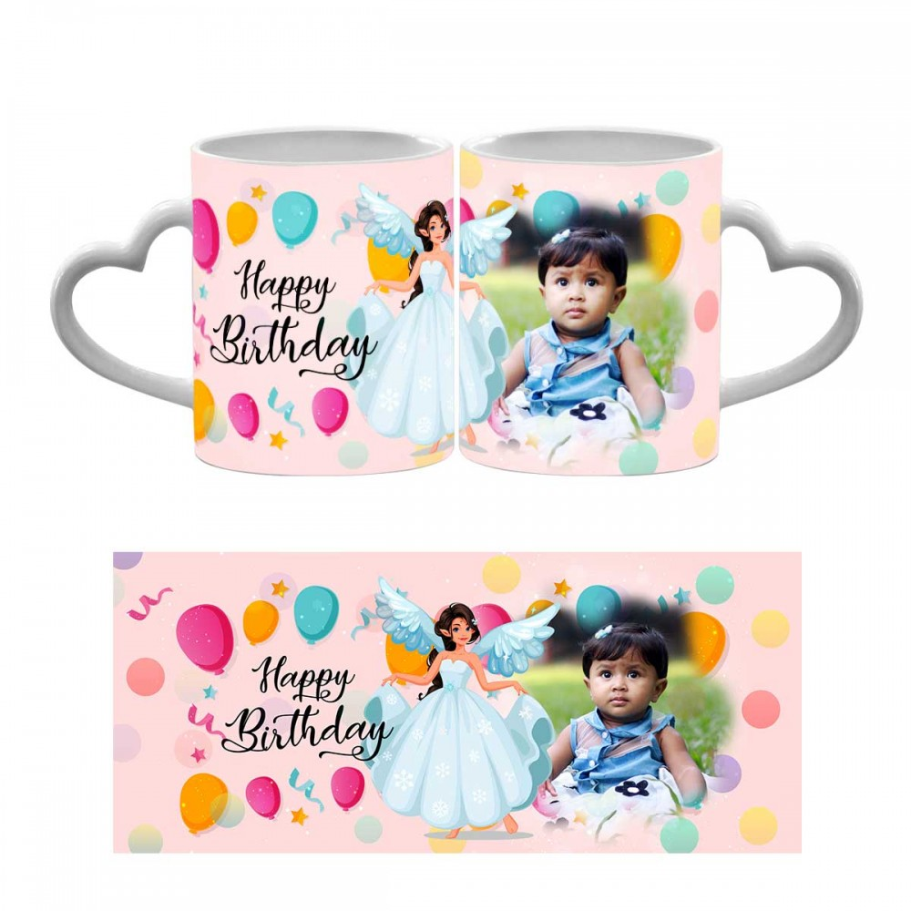 Personalised Happy Birthday Heart Handle Photo Mug