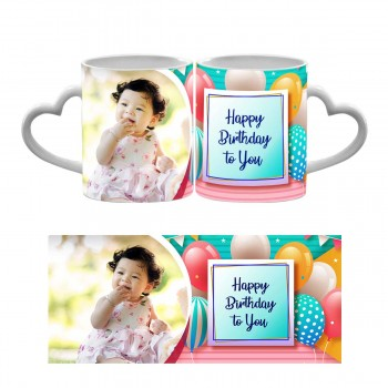 Personalised Happy Birthday to You Quoted Heart Handle Mug