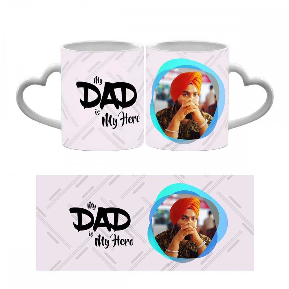 Personalised My Dad Is My Hero Heart Handle Mug