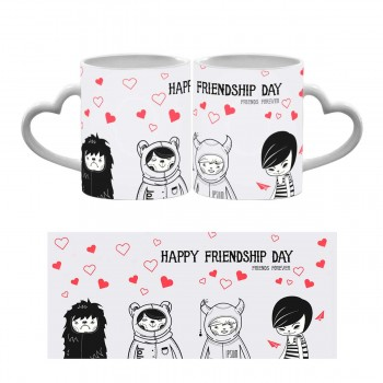 Happy Friendship Day Heart Handle Mug
