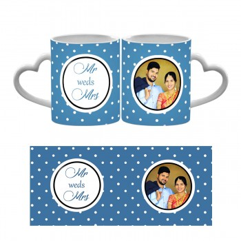 Personalised heart handle Wedding Mug with Names and Photo