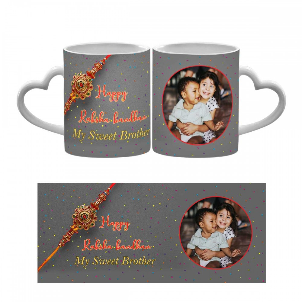 Happy Raksha Bandhan Heart Handle Mug