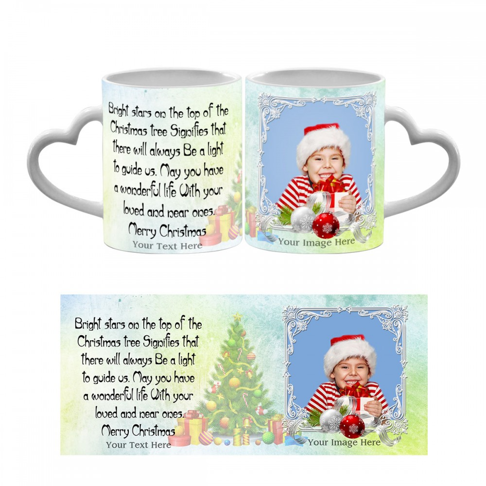 Personalised Merry Christmas quoted photo mug