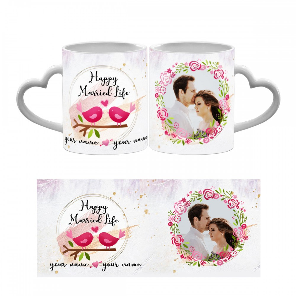 Personalised wedding wishes quoted with photo mug