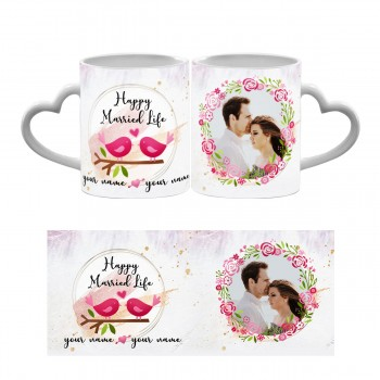 Happy Married Life Heart Handle Mug