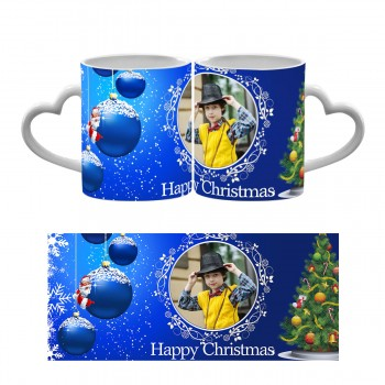 Happy Christmas Heart Handle Mug