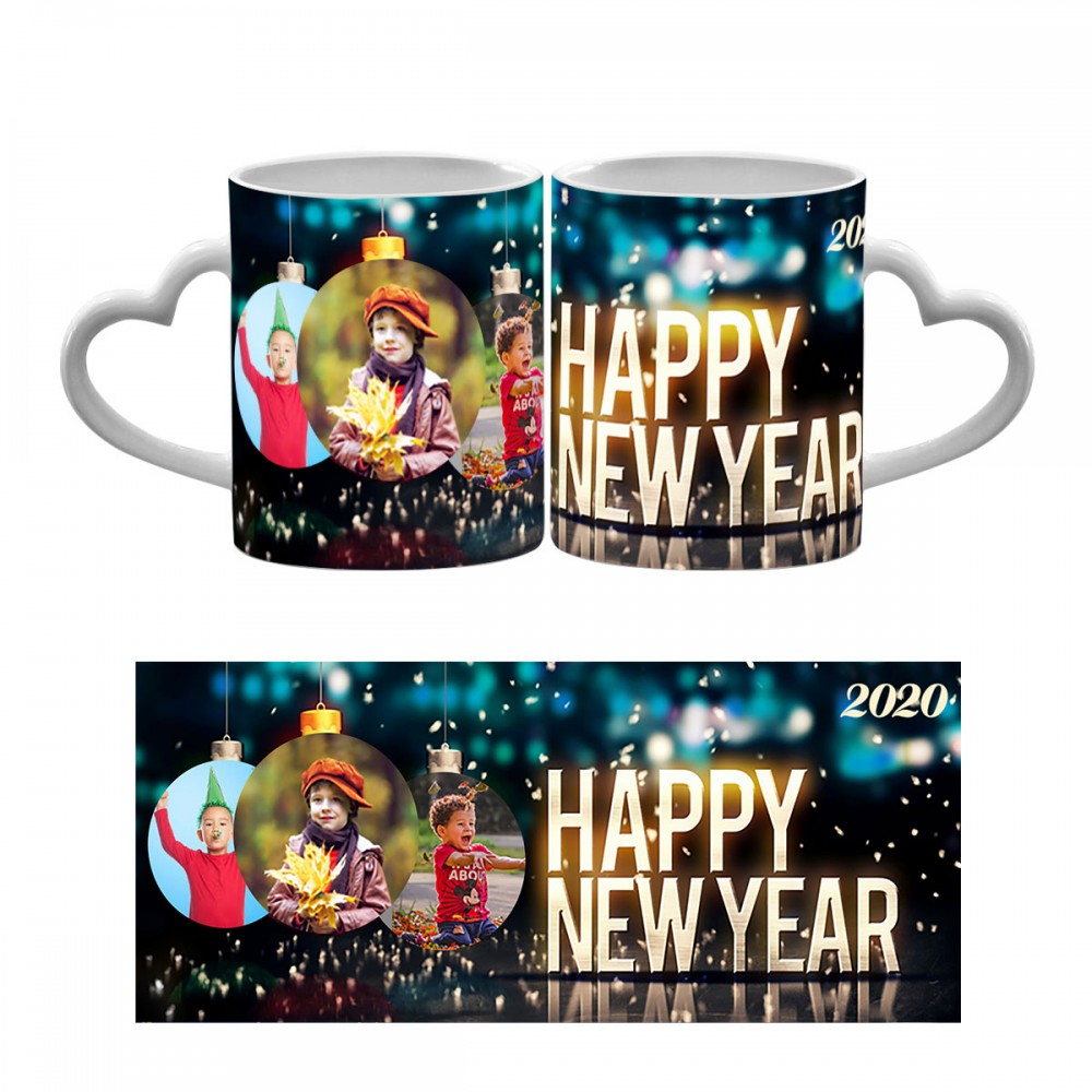 Happy New Year Heart Handle Mug