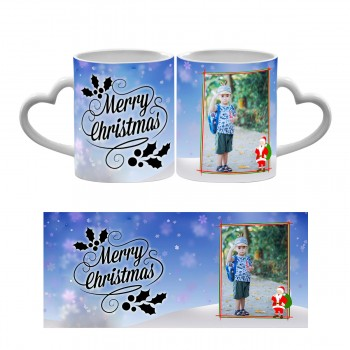Personalised Merry christmas photo mug with santa