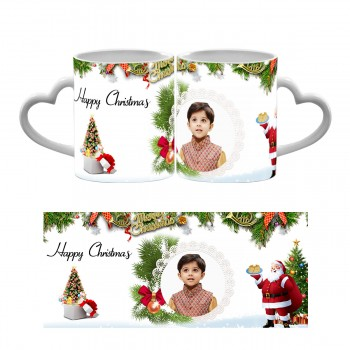 Happy Christmas Photo Heart Handle Mug