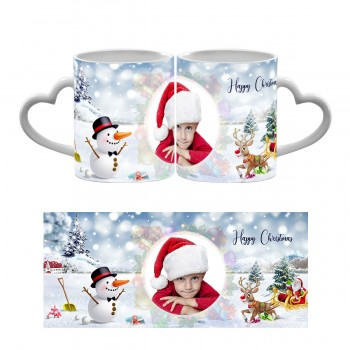 Happy Christmas Photo Heart Handle Mug 2