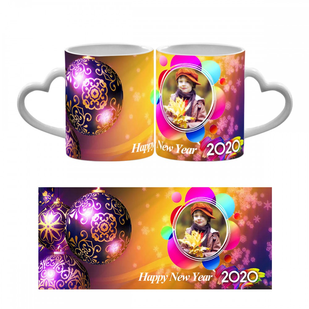 Happy New Year Photo Heart Handle Mug