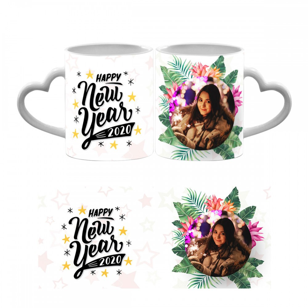 Happy New Year 2020 Heart Handle Mug 7