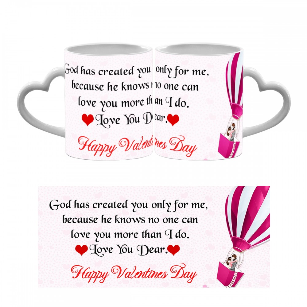Happy Valentines Day Quote Heart Handle Mug