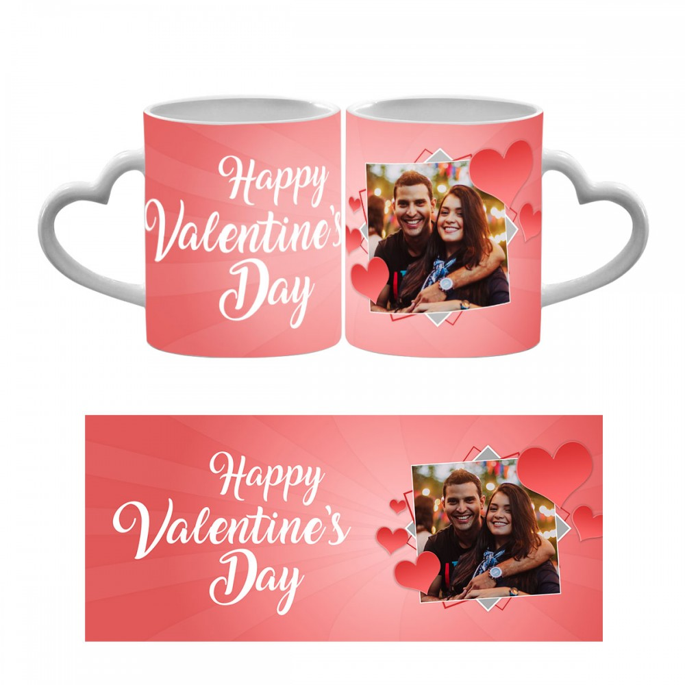 Happy Valentines Day Photo Heart Handle Mug 1