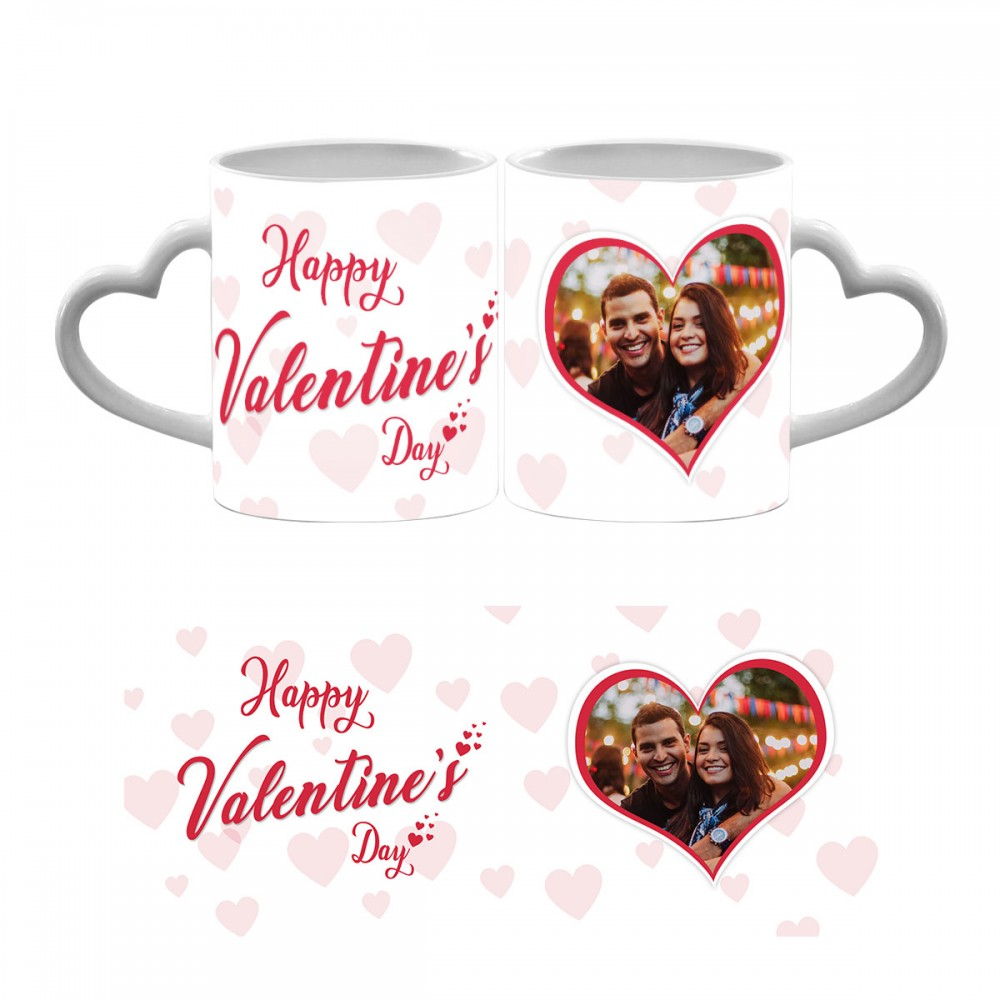 Happy Valentines Day Photo Heart Handle Mug 2