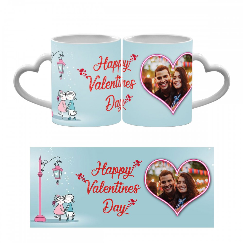 Happy Valentines Day Photo Heart Handle Mug 5