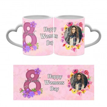 Personalised Happy Womens Day Heart Handle Mug 1