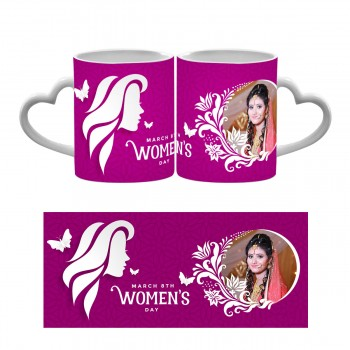 Personalised Happy Womens Day Heart Handle Mug 3