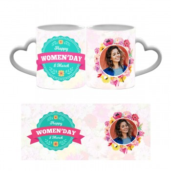 Personalised Happy Womens Day Heart Handle Mug 4