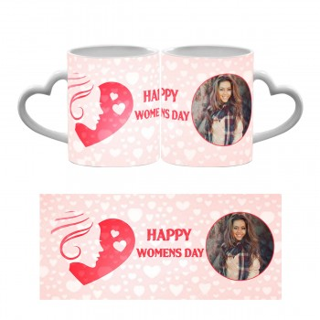 Personalised Happy Womens Day Heart Handle Mug 5