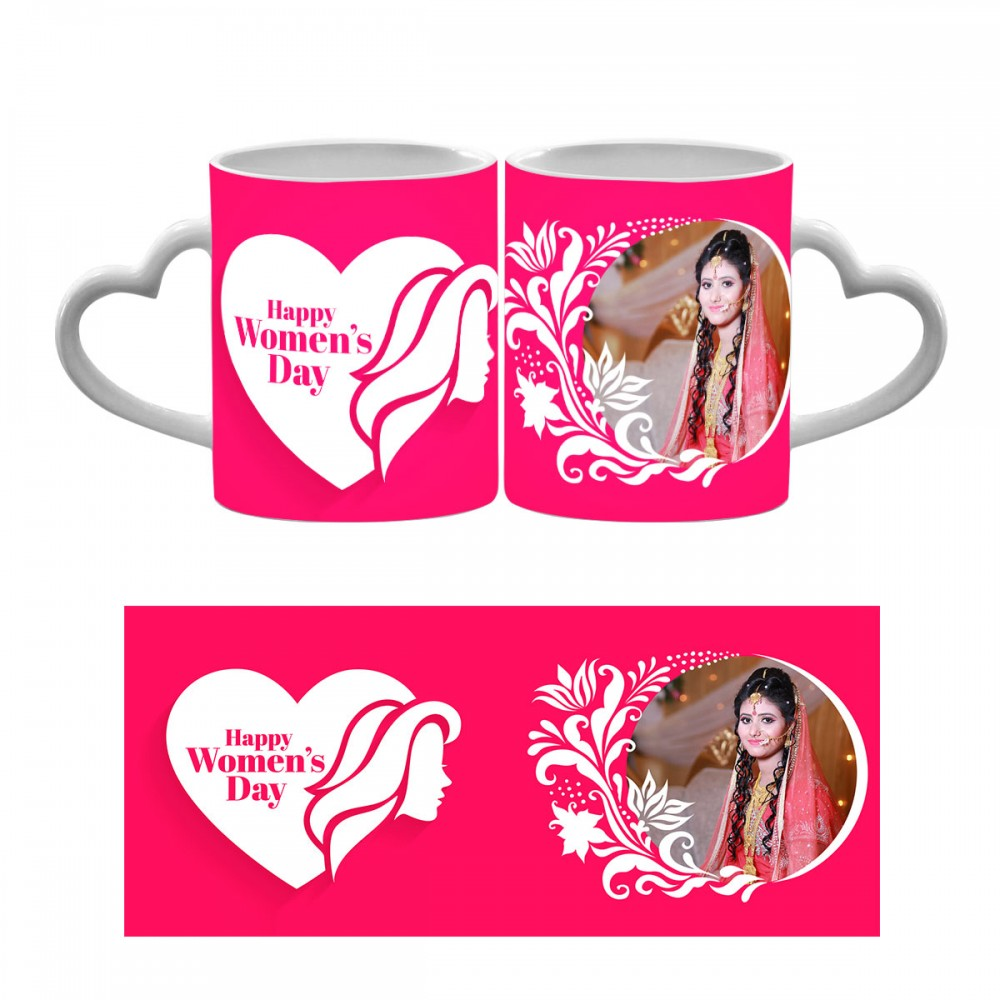 Personalised Happy Womens Day Heart Handle Mug 6