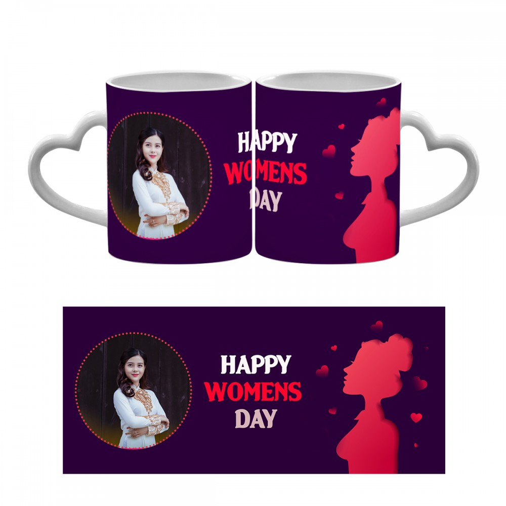 Personalised Happy Womens Day Heart Handle Mug 8