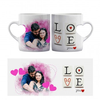 Love you quoted Heart Shaped Photo Mug
