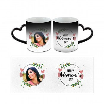 Personalised Happy Womens Day Heart Handle Mug