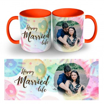 Personalise Happy Married Life Quoted Photo Mug