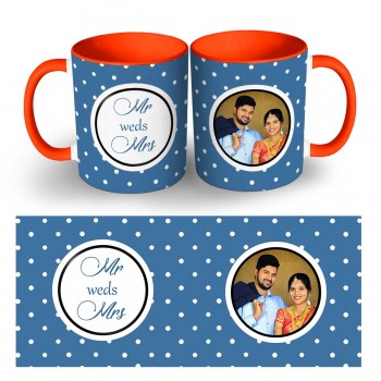 Personalis two tone Wedding Mug with Names and Photo