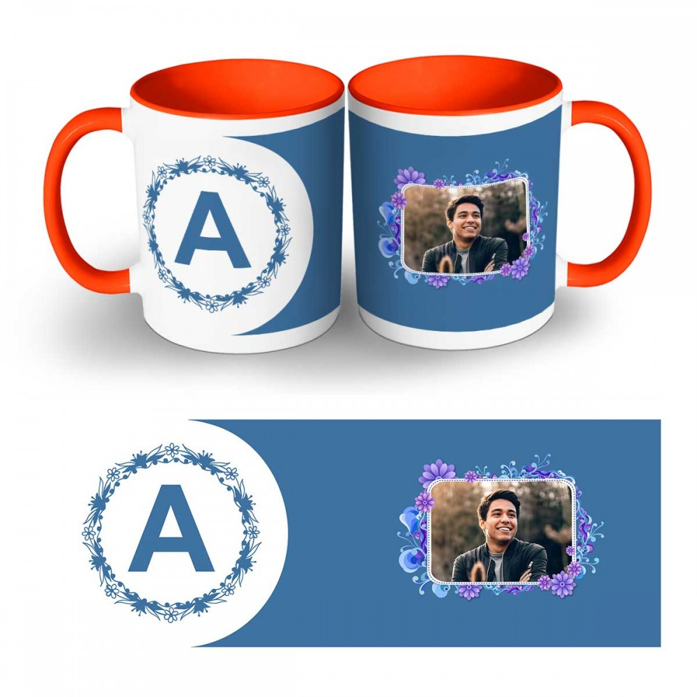 Personalised Alphabet with photo two tone mug