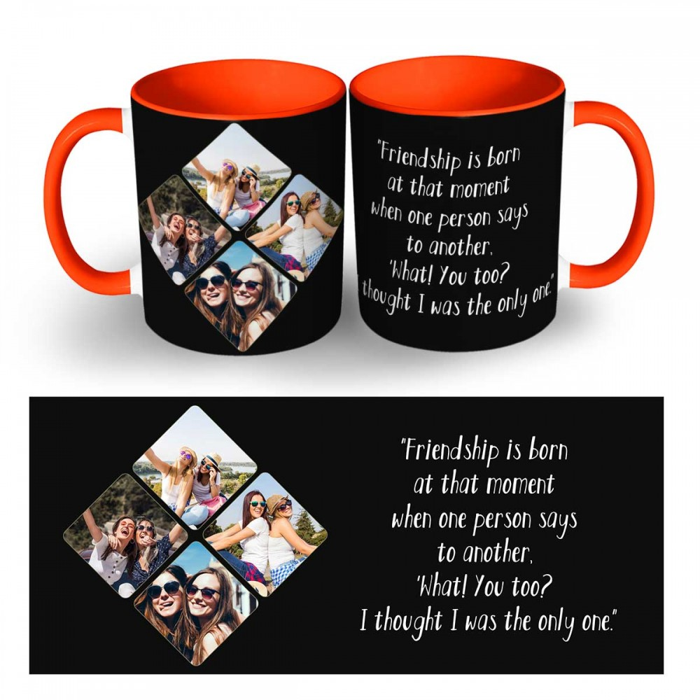 Personalised photo collage with Friendship day quote Mug