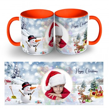 Personalised snowfall Happy christmas photo mug