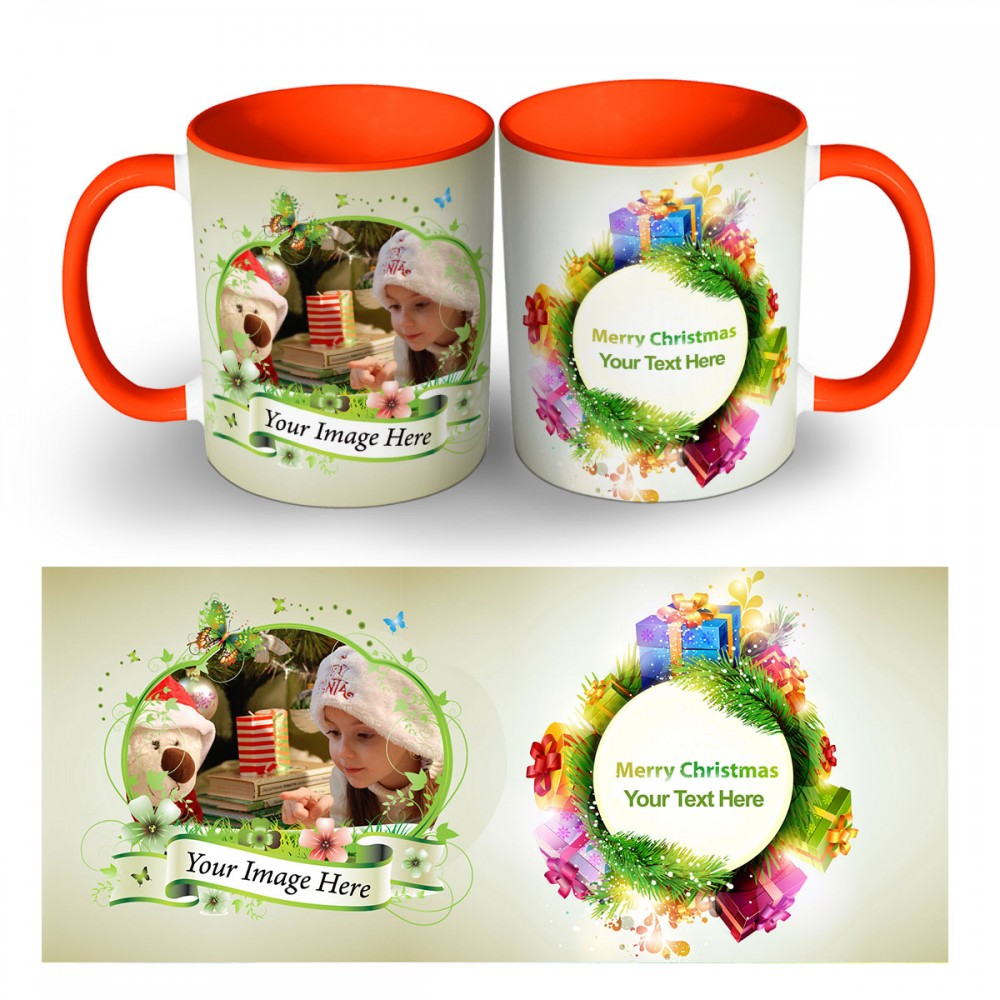 Personalised Merry christmas with text and photo Mug