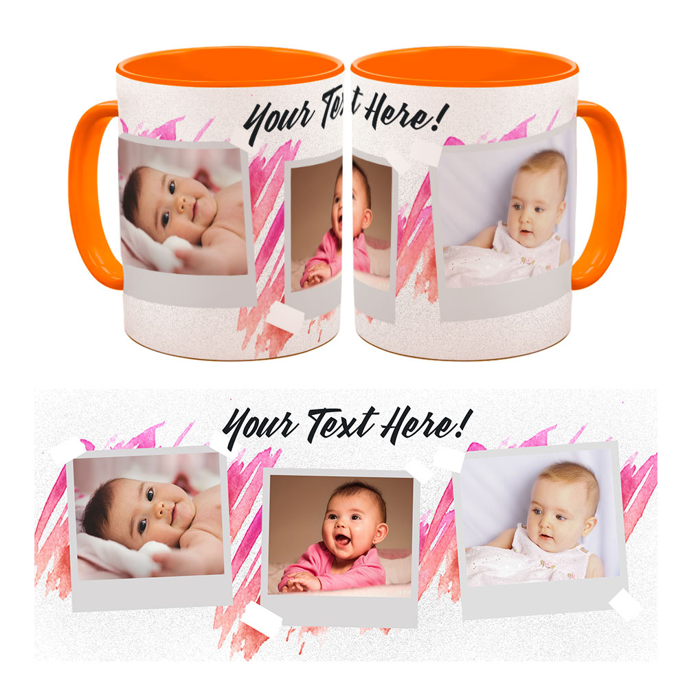 Personalised photo mug with text