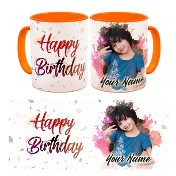 Personalised Happy Birth day quoted Photo Mug