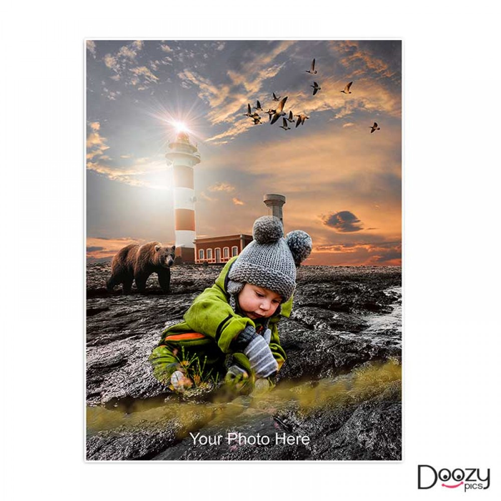 Kid At Lighthouse Print Poster