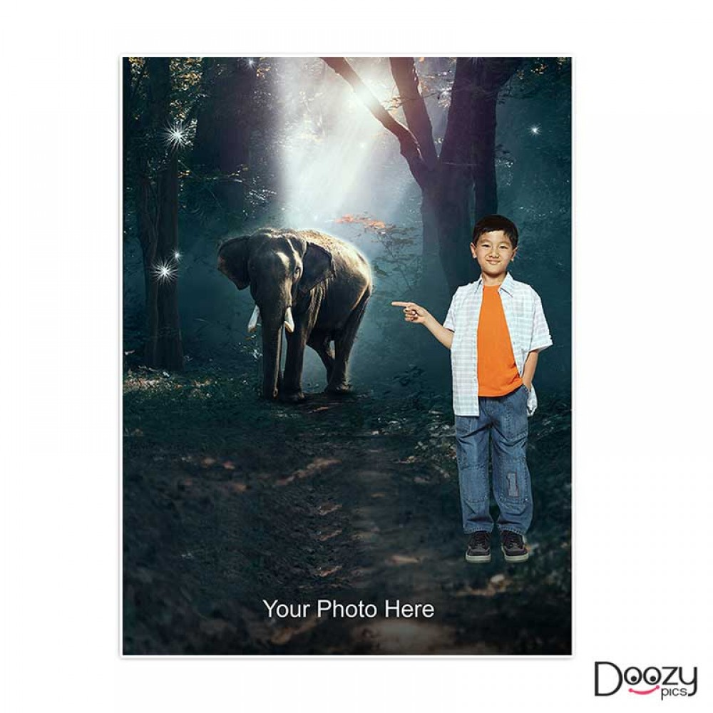 Kid With Elephant Print Poster