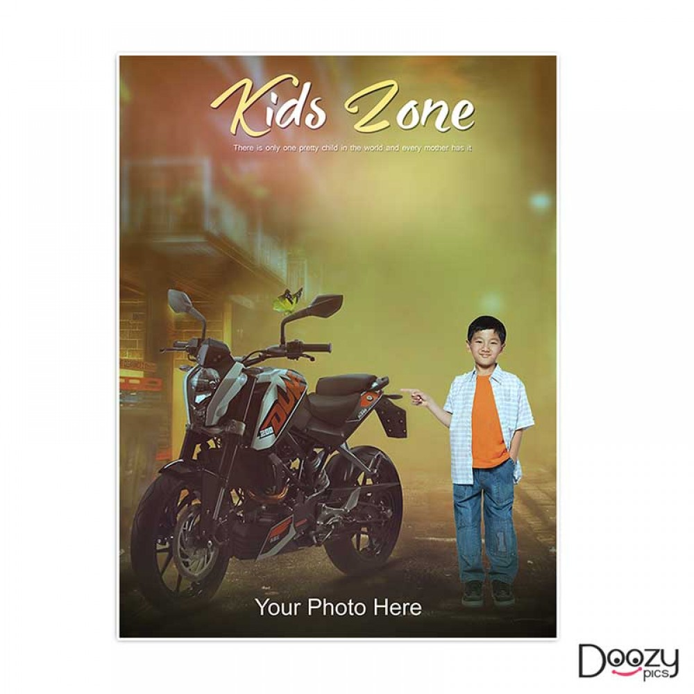 Kid With Duke Bike Print Poster
